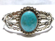 Old Southwestern Bell Trading Post Sterling Silver Turquoise Cuff Bracelet