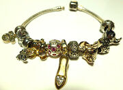 Packed Chamilia Disney Sterling Silver Mickey Slipper Carriage Charm Bracelet