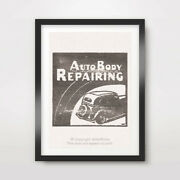 Classic Car Body Repair Art Print Poster Transport Vintage Service Station Signs