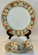 Christian Dior Christmas 3 Piece Place Setting Dinner Plate Cup Saucer Perfect