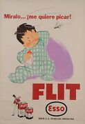 Original Vintage Argentinian Poster Esso - Flit Insecticide Mosquitoes 30-40's