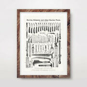 Antique Garden Tools Art Print Poster Home Decor Room Wall Picture A4 A3 A2