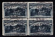 Us 240 50c Columbian Issue Used Block Of 4 Vf Scv 2000