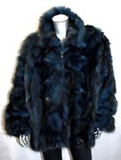 Menand039s Dyed 100 Genuine Fox Fur Blue Black Jacket By Walter Davoucci
