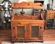 Antique Primitive Pine Dry Sink With Hutch Original Knobs And Hardware