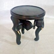 Flower Pot Stand Vase Mini 6 Wooden Elephant Table Handcarved Home Decor Table