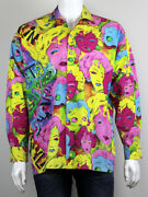 Extremely Rare Versace 90and039s Vintage Marilyn Monroe Betty Boop Print Shirt Size L