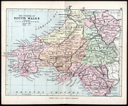 Counties Of South Wales 1891 George Philip And Son Antique Map
