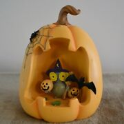 Lenox Led Pumpkin Lighted Halloween Figurine With Owl, Witch, Bat 6 New In Box