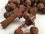 Antique Old Vintage Carved Wooden Rosary Beads Wood Cross Huge Large For Wall