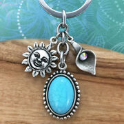Sun Keyring Keychain Charm With Turquoise Magnesite Pendant And Lily Crystal Charm