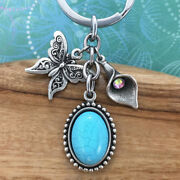 Butterfly Keyring Keychain Charm, Turquoise Magnesite And Lily With Crystal Charm