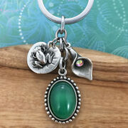 Frog Keyring Keychain Charm With Green Agate Pendant And Lily With Crystal Charm