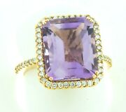 14k Rose Gold Womenand039s Natural Hand Cut Rose Amethyst Center And White Diamond Ring