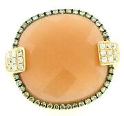 14k Rose Gold Womens Peach Moon Checkerboard White And Champagne Diamonds Ring 6.5