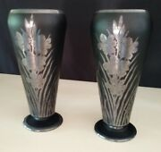 Antique Pair Of Rockwell Silver Co Silver Overlay On Black Amethyst Vases 11