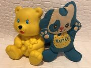 1990 Playskool 2 Baby Toys Lot Yellow Rubber Squeeky Yellow Bear And Dog Rattle