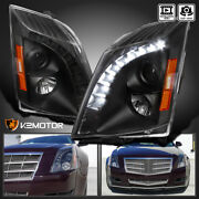 For 2008-2014 Cadillac Cts Black Led Strip Projector Headlights Lamps L+r 08-14