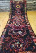 Primitive 1920-1930s Antique Wool Pile 3and039x10and039 Natural Dye Runner Rug