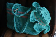 Handmade Crochet Beach Bag Turquise With Summer Hat New Price 20 Off Rrp