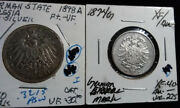 German State And German Silver Coins - 1874g 1 Mark - 1898a Zwei 2 Mark