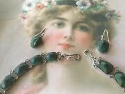 Antique Victorian Vintage Jewellery Scarab Sterling Silver Necklace Earrings