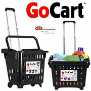 Dbest Products Gocart Black Grocery Cart Shopping Laundry Basket On Wheels