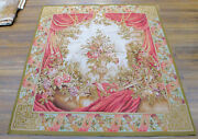 5' X 5' Floral Theme Aubusson Wall Hanging Tapestry Roses Urn Drape Antique Vtg