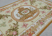 6and039 X 9and039aubusson French Countryside Royal Crown Tapestry Butterflies Oliver Ivory
