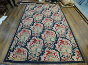 6and039 X 9and039 Gorgeous French Classic Aubusson Rug Burgandy Navy Handmade Yellow Roses