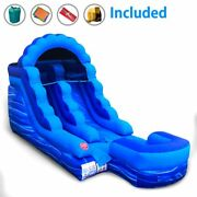 13.5and039h Blue Marble Commercial Inflatable Water Slide Kids Jumper Game W/ Blower