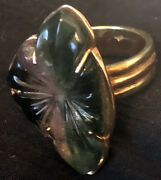 Carved Watermelon Tourmaline Ring Designd And Hand Made 14k Rose And Yellow Gold Sz8
