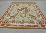 8and039 X 10andrsquohand-woven Aubusson French Countryside Tapestry Royal Crown Butterflies