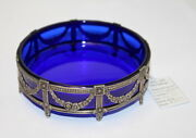 Vintage Cobalt Blue Glass Russian Silver 875 Ash Tray With Tag