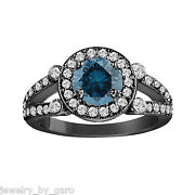 14k Black Gold Enhanced Fancy Blue Diamond Cocktail Ring Vintage Style 1.53 Ct