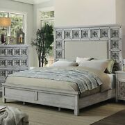 Beautifully Carved Rosette Pattern Queen Padded Fabric Bed Gray 1pc Furniture