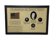 Revolutionary War Bullet Button Clay Pipe And Marble In Display Case With Coa