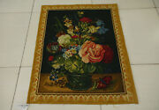 2.5and039 X 3.2and039 Antique Still Life Scene Tapestry Flower Art Urn Flat Weave Floral