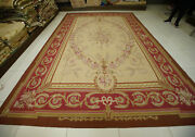 9.8and039 X 14.4and039 Classic Aubusson Victorian Floral Rug Rose Garland Swirls Handmade