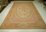 10and039 X 14and039 French Countryside Aubusson Floral Handmade Rug Rose Pastel Pink Swirl
