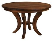 Quick Ship Amish Round Pedestal Dining Table Transitional Solid Wood 4248 54