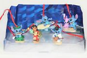 Disney Authentic Lilo And Stitch And Angel Christmas Ornaments 5pc Figure Set New
