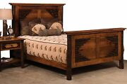Amish Hickory Panel Bed Solid Hardwood Bedroom Furniture King Queen