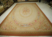 10and039 X 14and039 Aubusson French Countryside Handmade Rug Floral Fruit Beige Pastel Tan