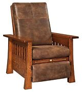 Amish Mission Arts And Crafts Mesa Recliner Accent Chair Solid Wood Upholstery