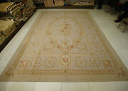 10and039 X 14and039 Shabby Chic Floral Aubusson Rug French Country Hand-woven Floral Swirl