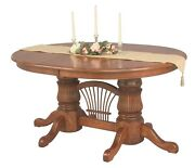 Amish Fluted Double Pedestal Dining Table Extending Leaf Solid Wood Bow Sheaf