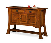 Amish Rustic Dining Room Sideboard Server Buffet Cambridge Solid Wood Furniture
