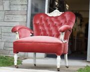 Antique Vintage Victorian Arm Chair Ruby Velvet Newly Upholstered And Refinished