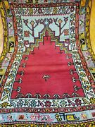 Authentic Pre-1900s Antique Wool Pile 3and0397andtimes4and0399 Natural Dye Prayer Rug